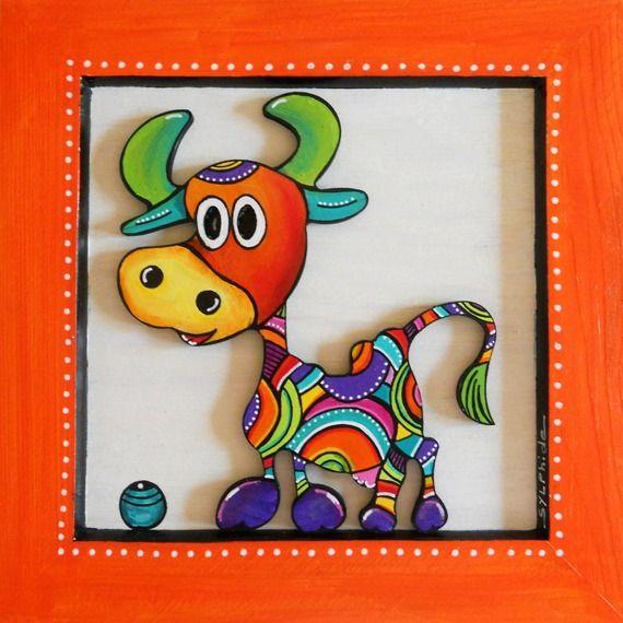 Tableau en bois peint d' Hermine la petite vache
