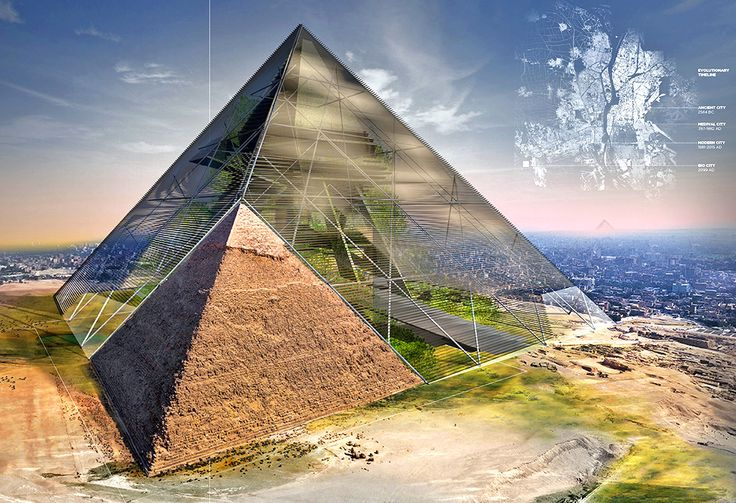 "Bio-Pyramid An American team of architects proposed a Bio-Pyramid that contains a ""living machine"" within a gigantic greenhouse-like structure. The unique builds on the footprint of Egypt's existing ancient pyramids, extending outward and upward into a much larger hybrid pyramid. The greenhouse-meets-biosphere design is meant to protect the land from desertification by providing opportunities for vertical farming, water"