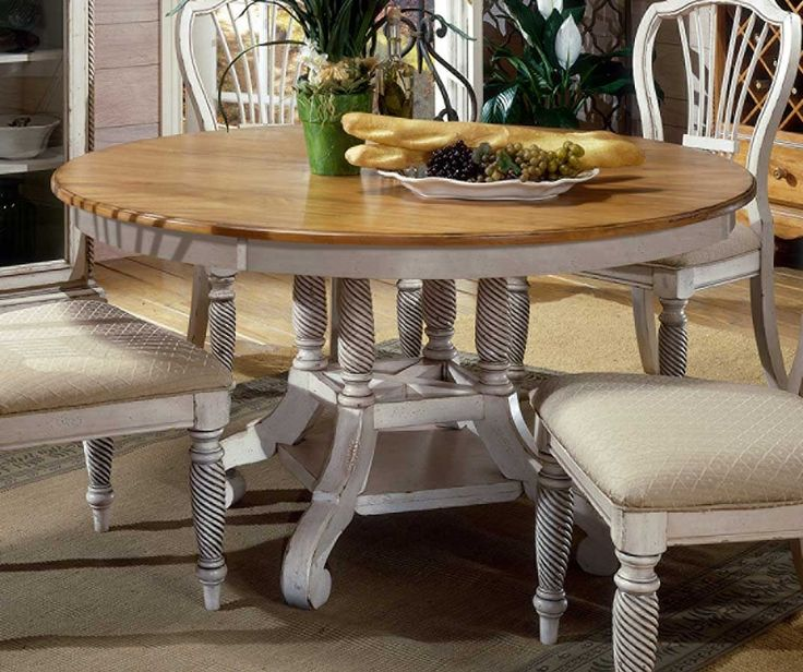 Antique White Oval Kitchen Table