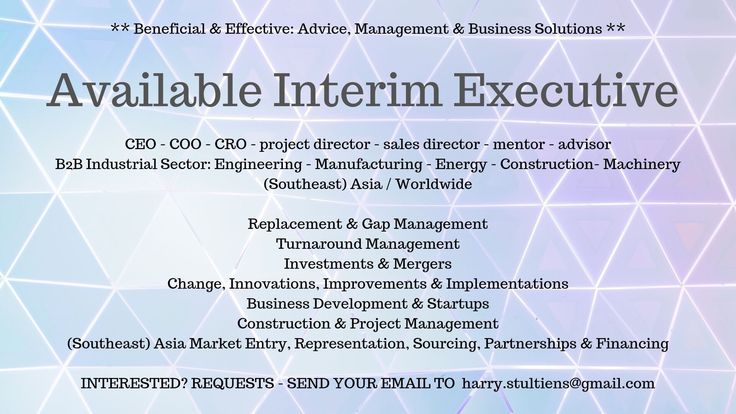 I AM LOOKING FOR JOB or INTERIM MANAGEMENT PROJECT