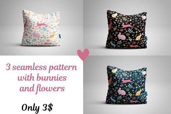 Rabbit vector seamless patterns. by Orangepencil on @creativemarket