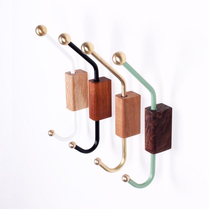 Wood-block wall hook