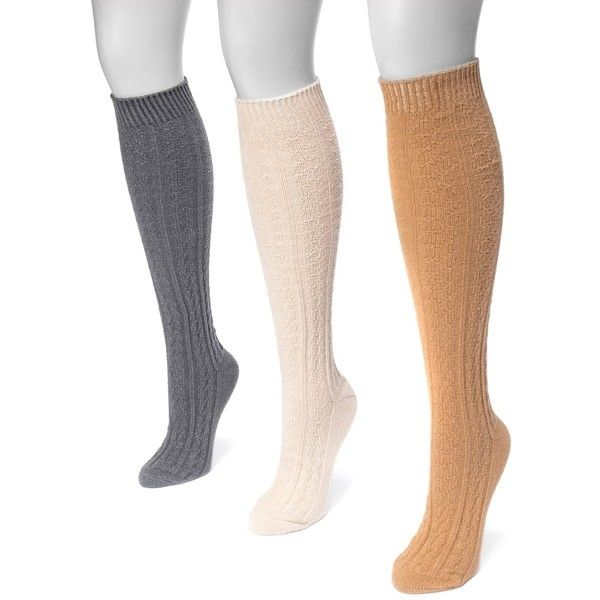 28291d4a7 Women s MUK LUKS 3-pk. Cable-Knit Knee-High Socks ( 26) ❤ liked on Polyvore  featuring intimates