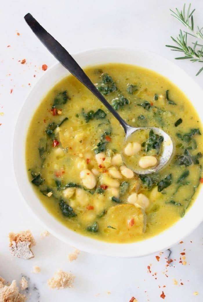 Tuscan White Bean Kale Soup Recipe Veggie Society Recipe Kale Soup Recipes White Bean Kale Soup Kale Soup