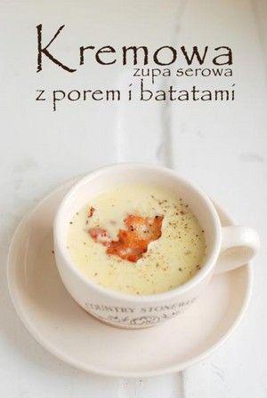 Kremowa zupa serowa z porem i batatami - przepisy.net