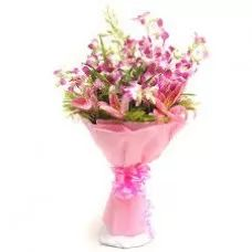 Pink Flowers | Orchids & Lilies Bunch | Orchids Bouquet