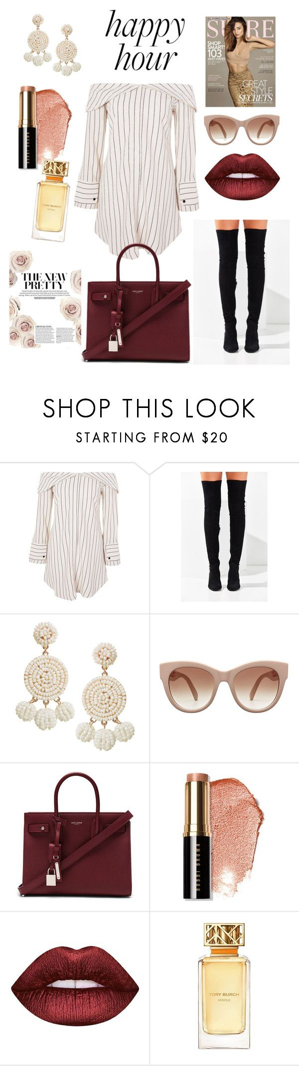 """My #HappyHour"" by montseperezp ❤ liked on Polyvore featuring Kerr®, Topshop, Jeffrey Campbell, Humble Chic, Yves Saint Laurent, Bobbi Brown Cosmetics, Lime Crime and Tory Burch"