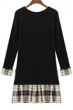 LUCLUC Black Plaid-hem Soft Plus Size Dress