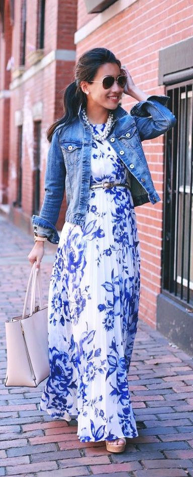 Rock a printed maxi dress any day of the week! Throw on a denim jacket for those cooler evenings, and you're ready for a casual date night! Are you loving this style? Where would you wear it?
