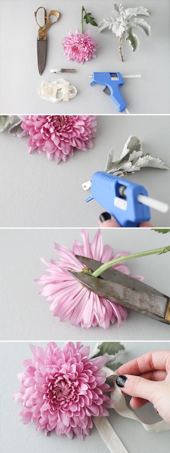 Diy hair accessories for weddings - How To Make A Fresh Flower Hair Clip