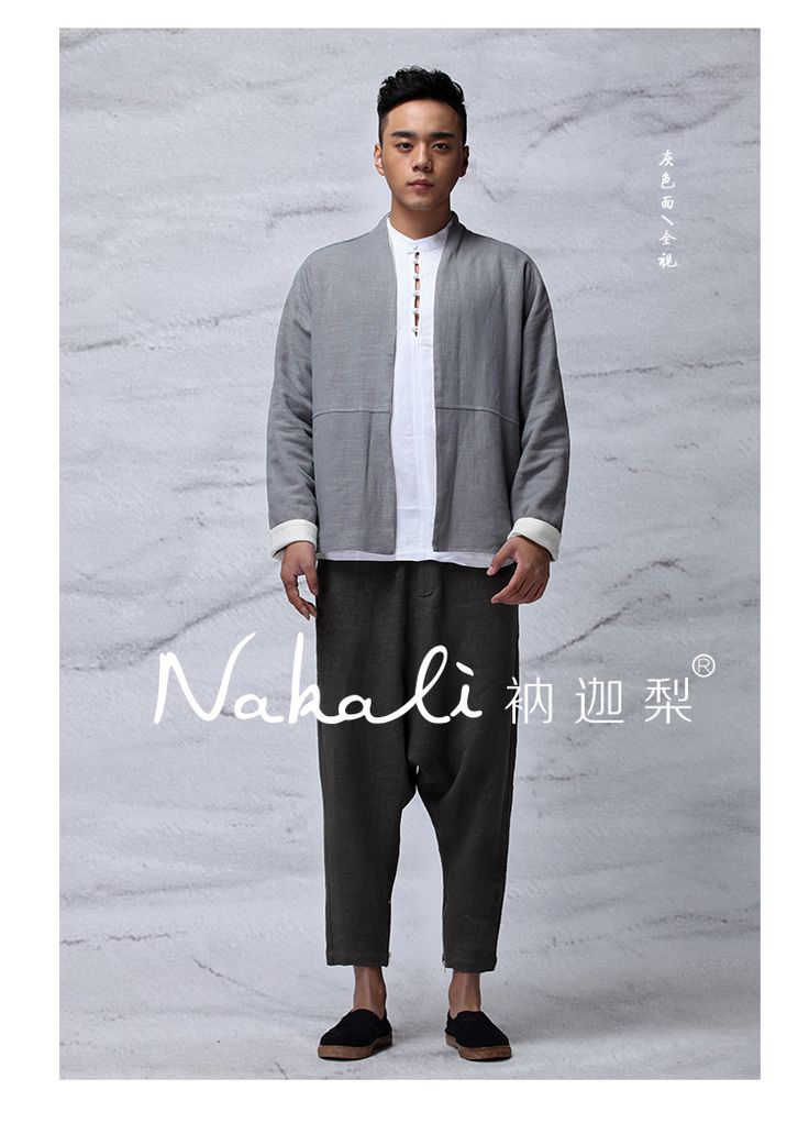 Nakali Chinese Traditional Style Mens Hanfu Zen Jacket  Coat Both Wearing Apparel Grey White Cotton Linen 2014 Winter New