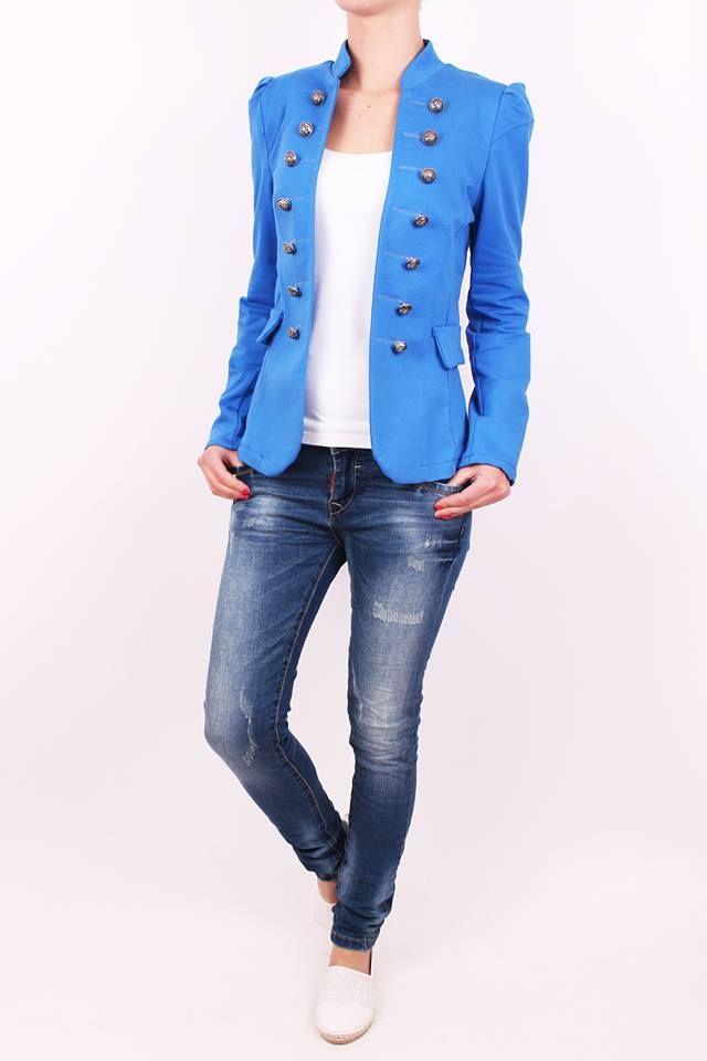 Moderné dámske sako modré