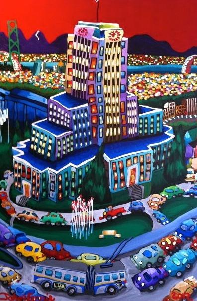 """City Hall,  48"""" x 72"""", acrylic on canvas, 2012"""