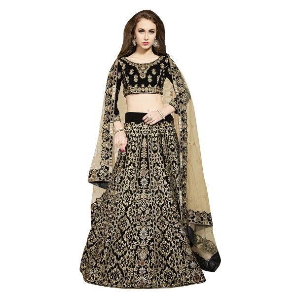 Buy Black Celebrity Designer Fully Embroidered With Aari Work Velvet Lehenga Online at cheap prices from Shopkio.com: India`s best online shoping site