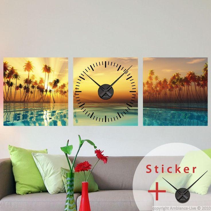 Sticker horloge Couché de soleil, cocotiers et rivière - Stickers STICKERS SPECIAUX Stickers Horloges - ambiance-sticker
