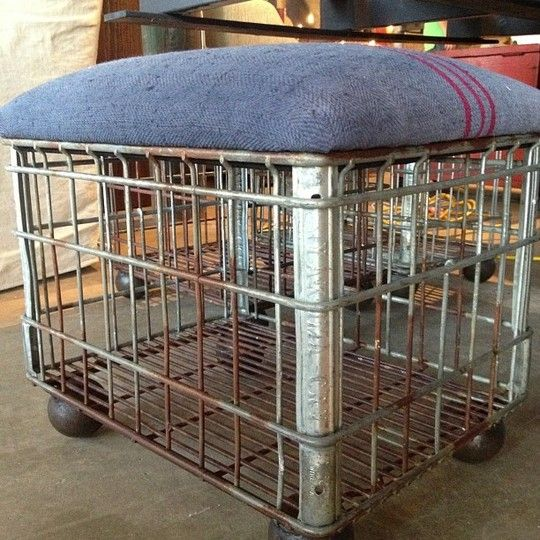 Repurposed milk-crate ottoman, Cisco Bros. L.A.