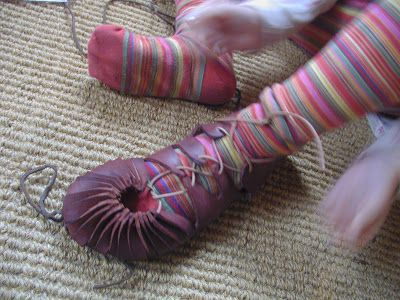 """From """"earth and living"""", a tutorial for iron age shoes."""