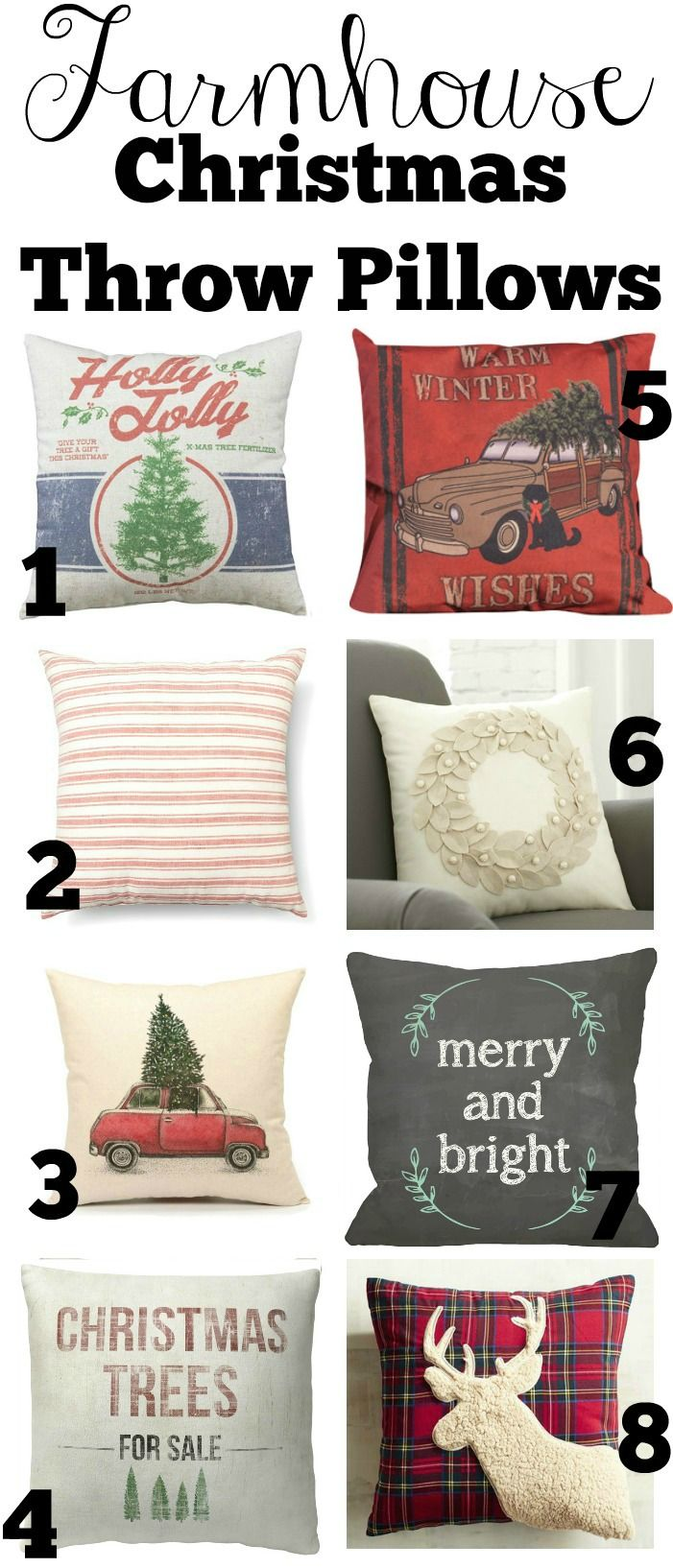 Farmhouse Style Christmas Throw Pillows