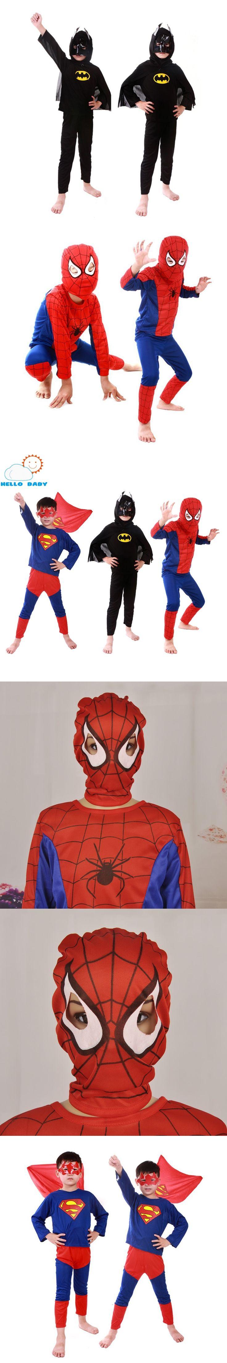 2017 Spiderman Batman Superman Children's Birthday Halloween Party Superhero Costumes Cloths Boys Children Costume Cape For Kids