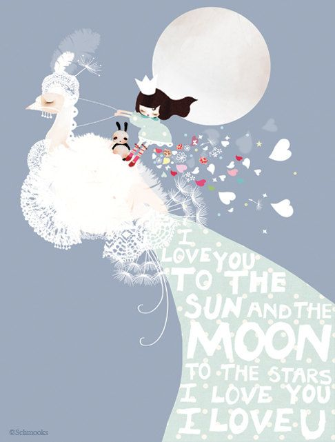 Children's nursery art, fairytale print, blue modern girls bedroom artwork - 'I Love you to the Moon' by Schmooks on Etsy, $27.51 CAD
