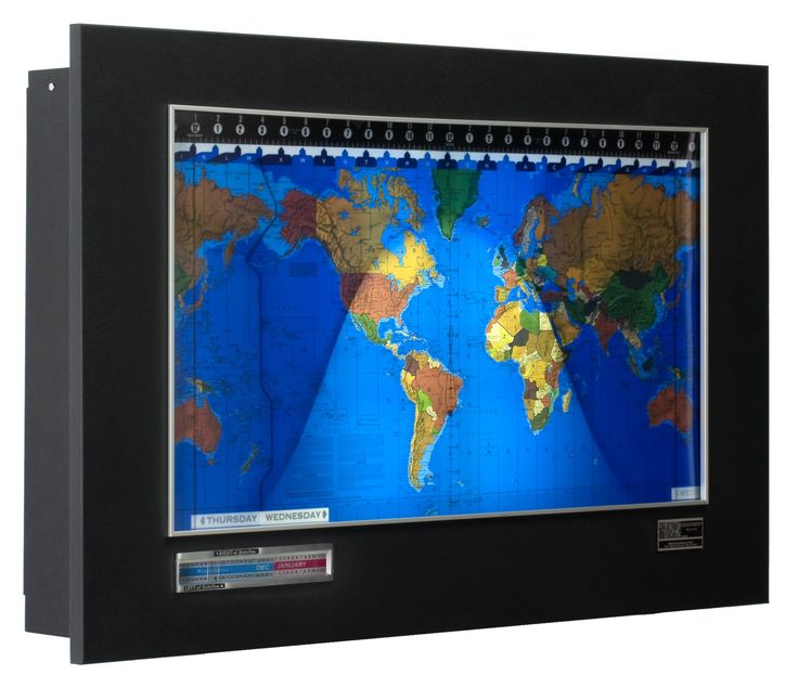 Geochron Standard World Clock, Black Goatskin with Silver Trim