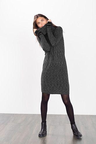 edc - Gebreide jurk met moulinélook kopen in de online shop