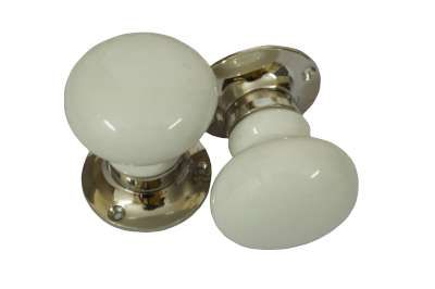 Plain White Ceramic Mortise Door Turners & knob