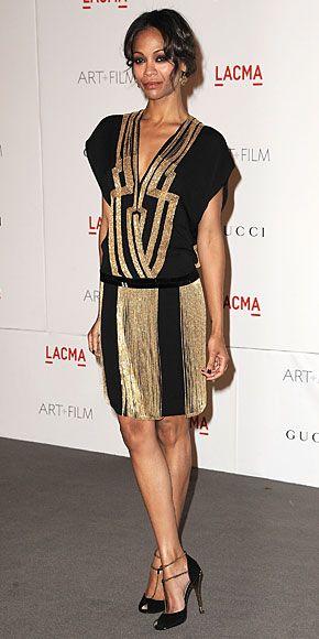 ZOË SALDAÑA    Este vestido que portó la actriz es otra de las propuestas de la casa Gucci para la primavera.