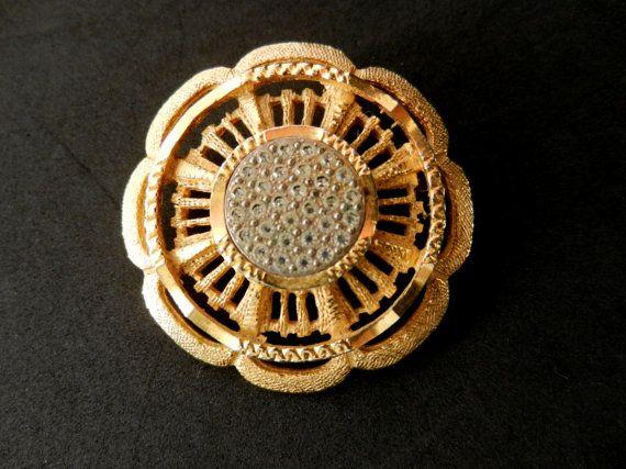 1950 Sphinx flower brooch  refined beauty of gold by RAKcreations
