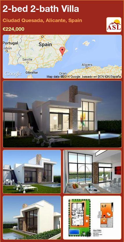 2-bed 2-bath Villa in Ciudad Quesada, Alicante, Spain ►€224,000 #PropertyForSaleInSpain