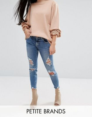 River Island Petite Skinny Jeans With Rips