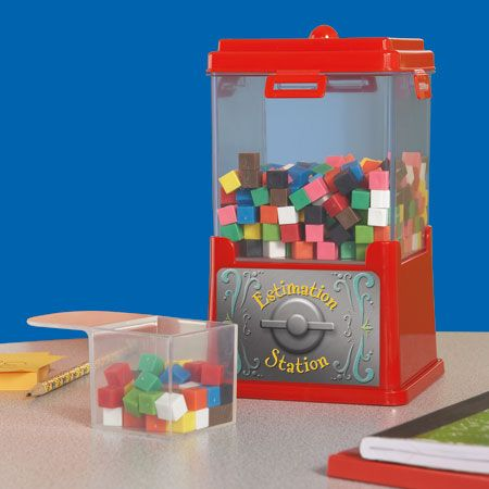 Estimation Station [kit]: Use the proportional scoop to make logical estimations of the materials in the cube jar. Activity guide contains a week's worth of activities including estimation, counting, place value, comparing and ordering numbers, making predictions, graphing, statistics and mathematical reasoning.