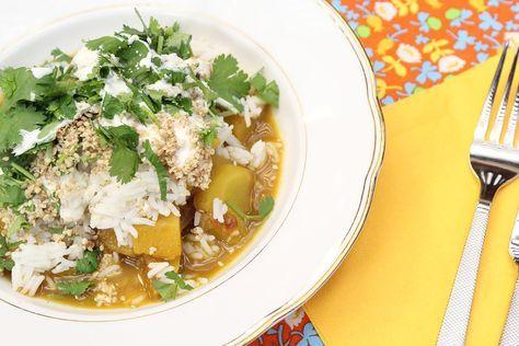 Curry stoofpotje met pompoen, wortel, tomaat en rijst