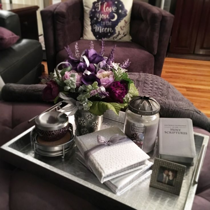 Ottoman Or Coffee Table Tray Styling Decor 💜 #purple