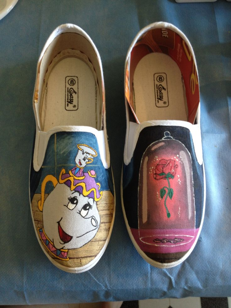 Beauty and the beast hand painted canvas shoe, really digging the one on the right