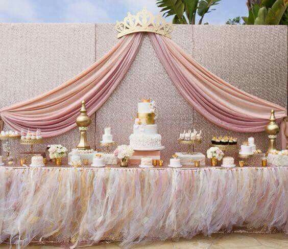 Love the crown back drop for princess themed party