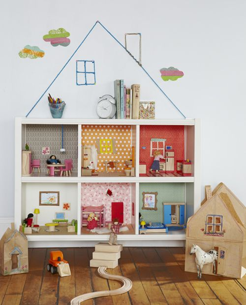 bookcase dollhouse, this is the neatest idea, scrap book paper fits perfectly in the back to make each room pretty!