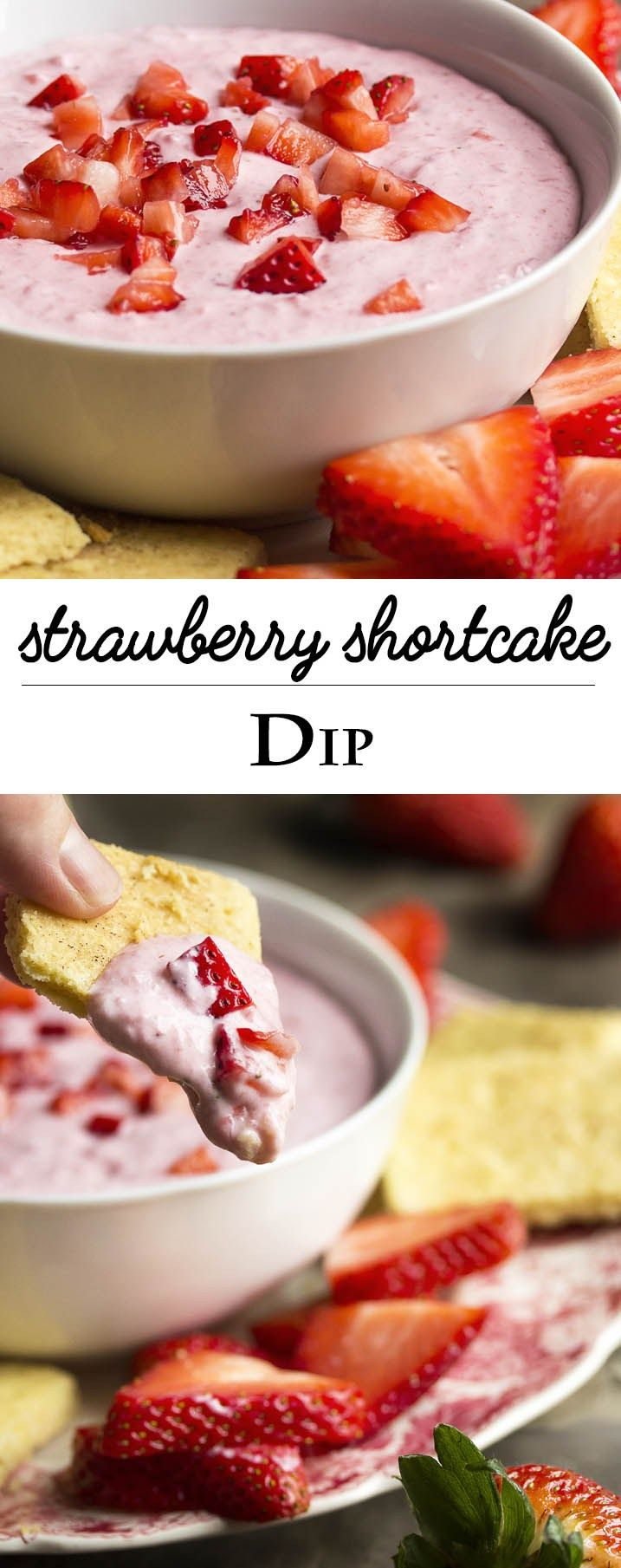 Strawberry Shortcake Dip - All the fun and yummy flavors of strawberry shortcake are in this quick and easy crowd-pleasing strawberry shortcake dip. Great with graham crackers, strawberry slices, and shortbread cookies. | justalittlebitofbacon.com