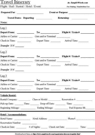 Free Travel Itinerary Template! Download, Edit and Print this Microsoft Word document to organize your travel plans, schedule and accommodations