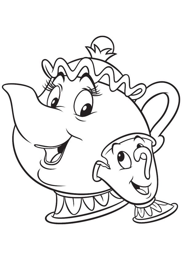 The Mrs Potts And Chip Potts Coloring Page Disney Tattoos In