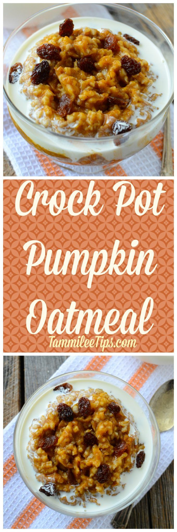 The perfect crock pot pumpkin oatmeal recipe for Fall! The slow cooker recipe is the perfect family breakfast. Add in brown sugar, apple cinnamon, rolled oats, almonds, maple syrup or any of your favorite oatmeal toppings.  via @tammileetips