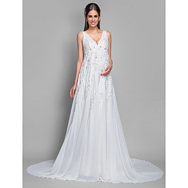 A-line+Maternity+Wedding+Dress+-+Ivory+Court+Train+V-neck+Chiffon+/+Lace+–+USD+$+139.99