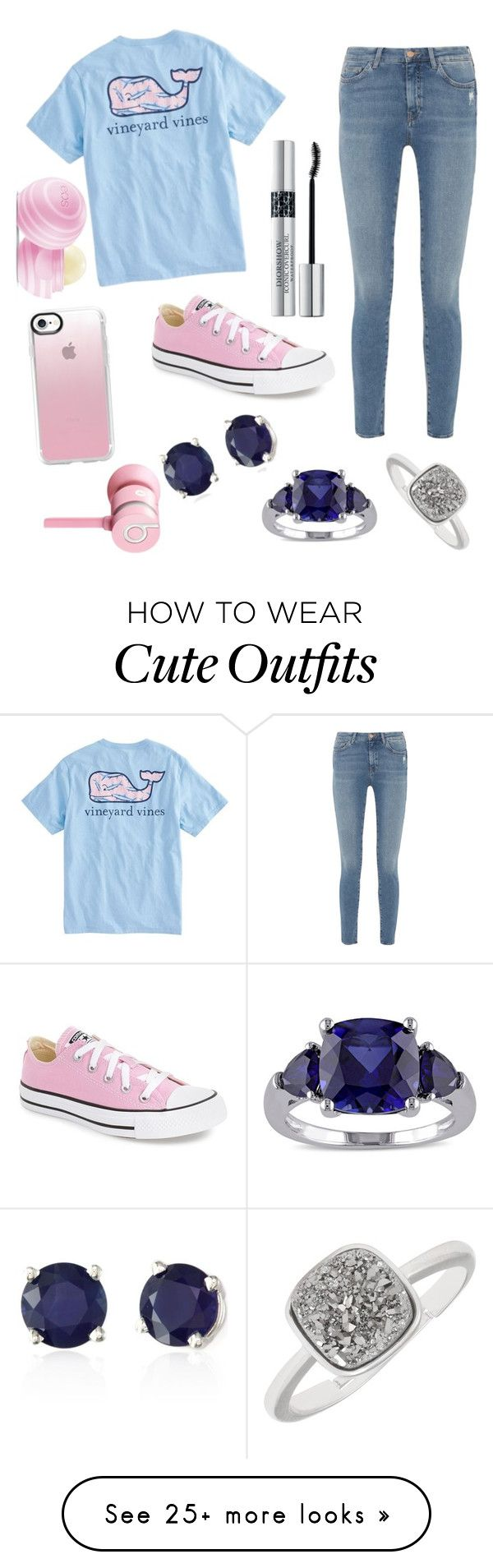 """""""Cute outfits for school"""" by amiyafulton037 on Polyvore featuring Vineyard Vines, M.i.h Jeans, Converse, Effy Jewelry, Miadora, Casetify, Christian Dior, Beats by Dr. Dre and Eos"""
