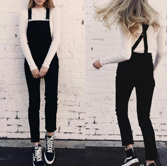 Black overalls, white ribbed sweater