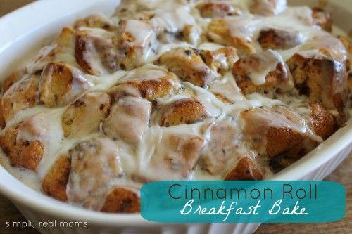 Cinnamon Roll Breakfast Bake! My family LOVES this recipe!: Breakfast Casseroles, Cinnamon Rolls Baking, Recipe, Cinnamon Rolls Breakfast, Bake, Sweet Treats, Sweet Rolls, Real Mom, Breakfast Baking