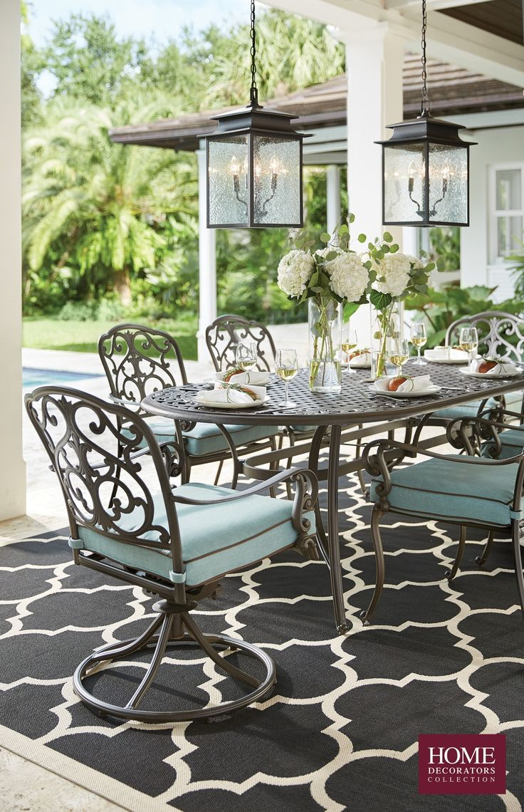 Outdoor living at its finest. Our Madrid 7-Piece Cast-Back Dining Set has major details and a classic look with blue cushions. This patio furniture is perfect for creating a backyard patio that's an extension of your home. Enjoying brunch with family or hosting a party during the spring and summer months is much better spent outside. Bask on your outdoor patio, complete with outdoor furniture, outdoor decor, outdoor lighting and more. Shop Home Decorators Collection at The Home Depot.
