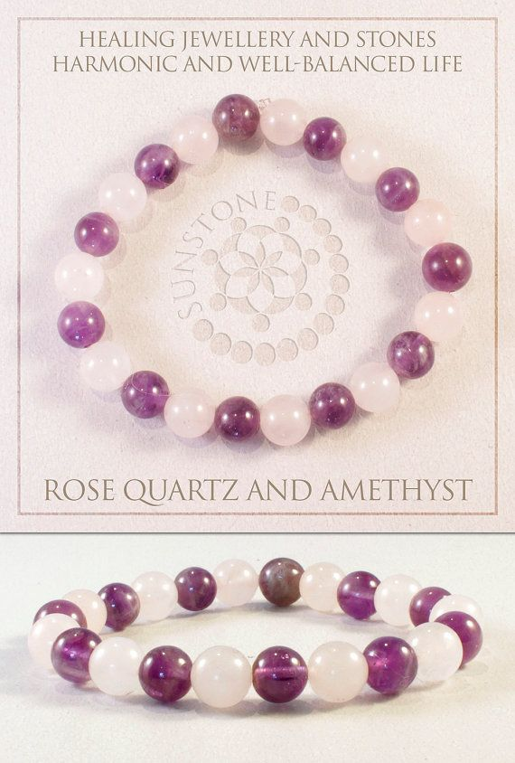Rose Quartz and Amethyst Gemstone Bracelet by by SunstoneCraft