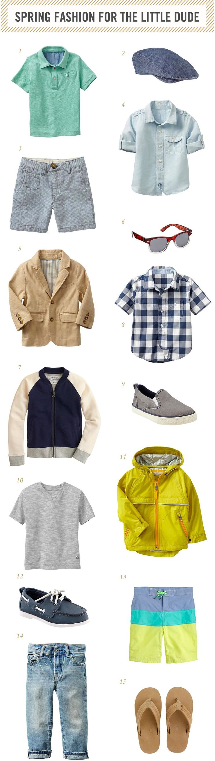 Since I posted my spring fashion picks for little girls, I thought I better do a spring fashion post for little boys too and really, I just have a thing for little guys clothes.  I just think they are so darn cute.  Maybe it's the tomboy/preppy side of me that loves the styles for little boys