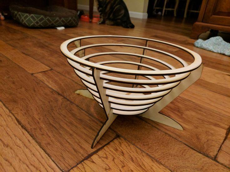 Laser cut wooden bowl.