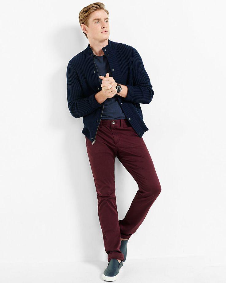 slim finn flex stretch burgundy chino pant